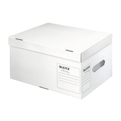 Leitz Infinity Ablage- und Transportbox, Größe S, Obere Öffnung mit integriertem Deckel, 100{ce5c689acc9658eb3cfdee1d90e3b2d50d28d16ad5f3cca18d54e04760878341} säurefreier Wellpappe, Faltbar, Weiß, Leitz Infinity Archiv Serie, 61050000