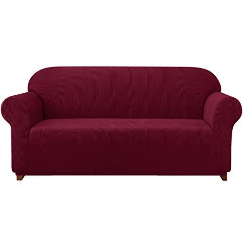 subrtex Spandex Sofabezug Stretch Sofahusse Couchbezug Sesselbezug Elastischer Antirutsch Stretchhusse für Sofa (3 Sitzer, Weinrot)