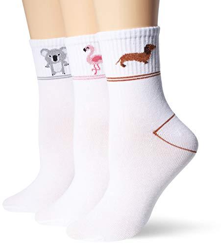 Vero Moda VMFRUITY Ancle Socks 3-Pack Calzini, Bianco Neve/Dettaglio: Dog-Flamingo-Koala, Taglia Unica Donna