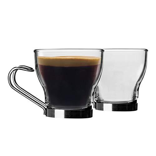 Bormioli Rocco - Set di 12 tazze da caffè in vetro Oslo, piccole tazze da caffè temperate, manico in acciaio inox, 100 ml