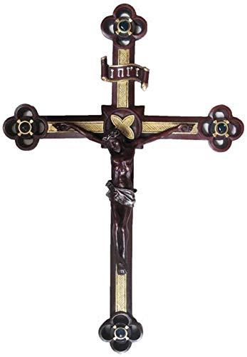 chenran Zubehör Cross Christian Supplies Resin Crafts Kreuz Skulptur Jesus Statue Anhänger Retro Saints Souvenirs Wandverzierungen Geschenk (Color : D, Cross Size : 17.5 Inches)