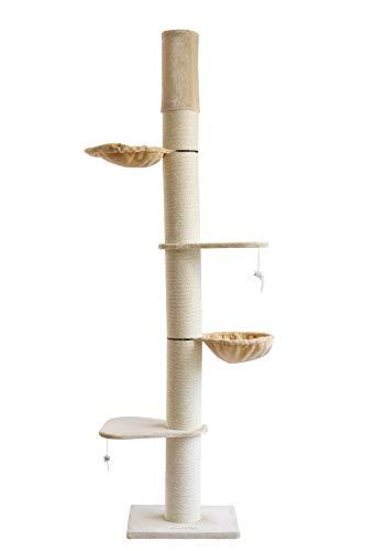 Clamaro 'Athen' XXL Katzenbaum deckenhoch höhenverstellbar (beige), Katzen...