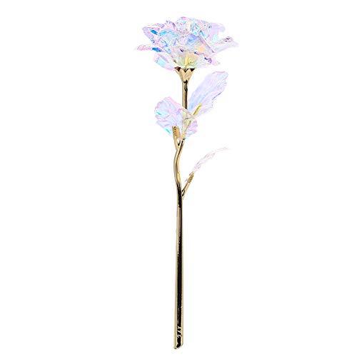 TOPMountain – Linda flor de rosa com folha de ouro 24K e rosa gradiente de arco-íris e rosa com simulação romântica de flores de eternidade para o dia dos namorados, presente de casamento, caixa de presente de casamento, iluminação para a próxima nota, sem sacola