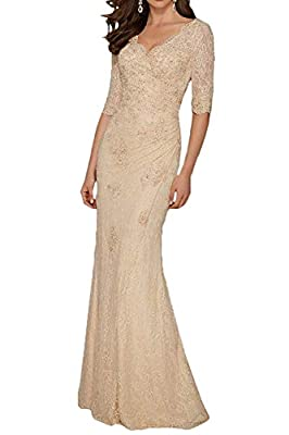 This floor length mermaid lace prom dress is suitable for the evening, party, wedding, brithday and some special occasions Please use our size chart on the left because our size is not the same size as Amazon Feature: Full Length, V Neck, 1/2 Sleeves...