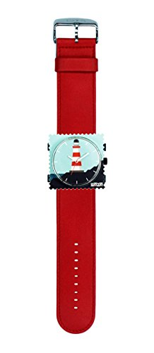 S.T.A.M.P.S. Stamps Uhr KOMPLETT - Zifferblatt Sealight mit Lederarmband Classic rot