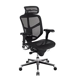 WorkPro Quantum 9000 Mesh Series High-Back Executive Desk Chair with Headrest, Gray/Black