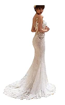 Women's Sheer Neck Backless Mermaid Wedding Dresses for Bride 2020 with Train Lace Appliques Bridal Ball Gown This wedding dress is elegant¡gorgeous and charming. It is great for beach wedding, garden wedding or a chapel wedding etc. Size: Please ref...