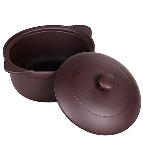 Barm Pentola Cinese della casseruola di Zisha, pentola Fatta a Mano di Ceramica Porpora dell'argilla Pentole Sane con Il Coperchio Viola 3.7Quart