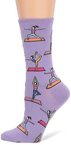 Hot Sox Women's Originals Fashion Crew Novelty Socks, Yoga (Lavender), Shoe Size: 4-10
