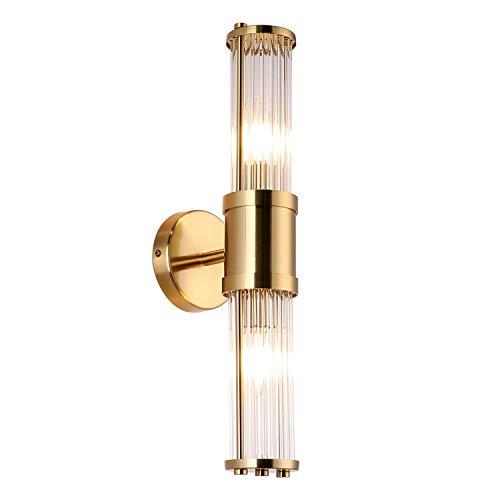 ECOBRT Glass Wall Light Fixture Indoor Antique Brass, Bathroom Vanity Lights Beside Mirror Lighting Lamps Up and...