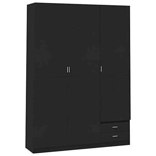 vidaXL - Armadio a 3 ante, 4 ripiani, 2 cassetti, con ante girevoli, per camera da letto, colore: nero, 120 x 50 x 180 cm