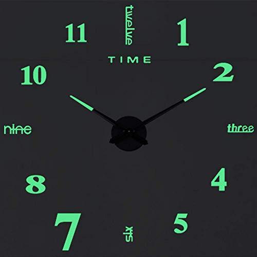 SHS2018, orologio da parete luminoso, moderno, silenzioso, XXL, specchio in acrilico, adesivo 3D,...
