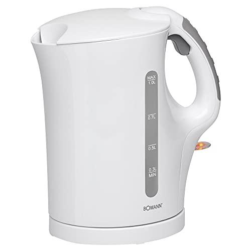 Hervidor de agua inalámbrico de 1 litro, 900 W, color blanco, filtro de cal (indicador de nivel de agua, protección contra sobrecalentamiento, apagado automático, tapa de seguridad)