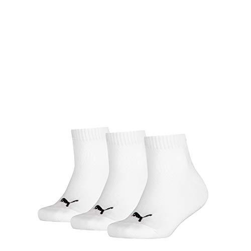 PUMA Quarter 3p sport, Bianco (White 300), Unica (Taglia Produttore: 31/34) (Pacco da 3) Bambino