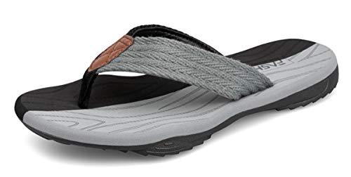 ChayChax Chanclas Hombre Deportivas Sandalias de Playa y Piscina Suave Zapatillas Antideslizante Verano Flip Flops,Negro Gris,43 EU