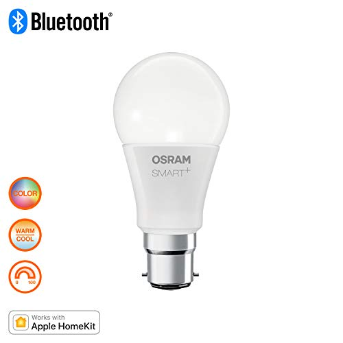 OSRAM Smart+ Ampoule LED Connectée | Culot B22 | Forme Standard | Dimmable | 16 Millions de couleurs | 10W (équivalent 60W) | Bluetooth - Compatible Siri sur Apple & Alexa sur Android
