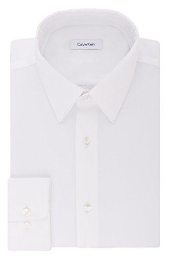 Calvin Klein Men's Dress Shirt Regular Fit Non Iron Stretch Solid, White, 16.5' Neck 32'-33' Sleeve (Large)