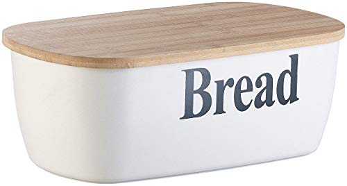 Rosenstein & Söhne Brotbox: Brotkasten Bread mit Bambus-Schneidebrett-Deckel (Brottrommeln)
