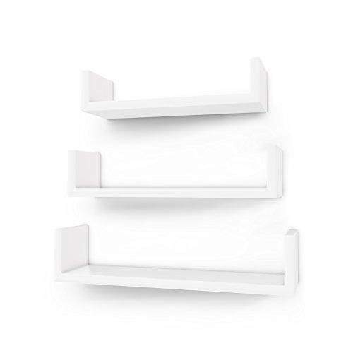 SONGMICS Wandregal 3er Set U-Form Schweberegal kreatives Lounge Cube Regal aus MDF-Platte Weiß LWS40WT
