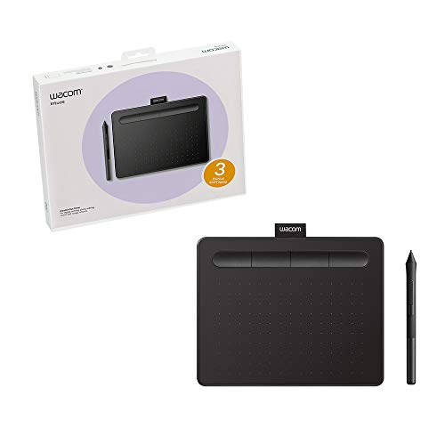 """Wacom Intuos Drawing Tablet with 3 Bonus Software Included, 7.9""""x 6.3"""", Black (CTL4100)"""