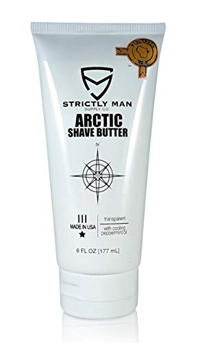 Arctic Shave Butter for Men by Strictly Man Supply Co. | Clear Shaving Cream with Cooling Peppermint Oil, Witch Hazel, Aloe & Sage | Grooming for the Industrious Man | Made in USA | 6 Ounces