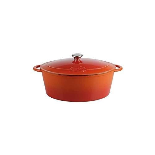 Sitram - Cassettiera in ghisa di acciaio smaltata, acciaio, arancione e bianco, 9 L