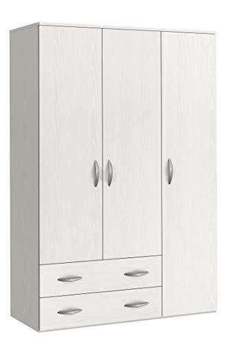 Klipick Armadio 3 Ante + 2 cassetti.Dimensioni: L 121 P 52 H 175 cm Oriana.Colore: Bianco Frassinato