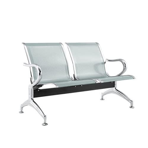 Panca 2 posti acciaio 125x45x95 argento sala d'attesa - FBasic | Panchina con braccioli