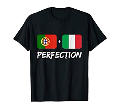 Great Christmas Gift For any one thats Half Portuguese and 1/2 Italian Great Birthday Present, Portugal Flag , Italy Flag , Great For Couples, Latino Culture, Hispanic, Latin Lightweight, Classic fit, Double-needle sleeve and bottom hem