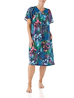 Cool, Comfortable, Lightweight house dresses for women. This roomy duster dress is versatile and can be worn as a house coat, lounge dress, plus size caftan, women's nightgown, patio dress and house dress. Two Slit Pockets, one on each side of the lo...