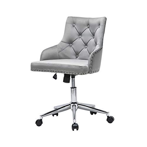 Velvet Office Chair with Wheels and Arms Velvet Desk Chair for Home Office Working, Gray