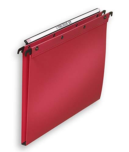 Elba 100330386Confezione da 10cartelle sospese cassetto fondo 15mm A4Polypro opaco rosso