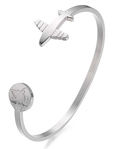 Milosa Bracelet pour femme en acier inoxydable avec gravure « Travel the...