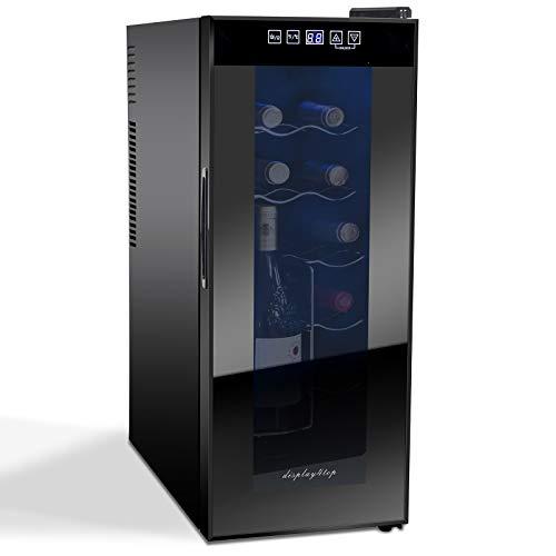 Display4top Frigorifero Cantinetta Frigo per Vini e bevande, Supporta 12 bottiglie,Porta in vetro temperato, cassetto cromato (35L)