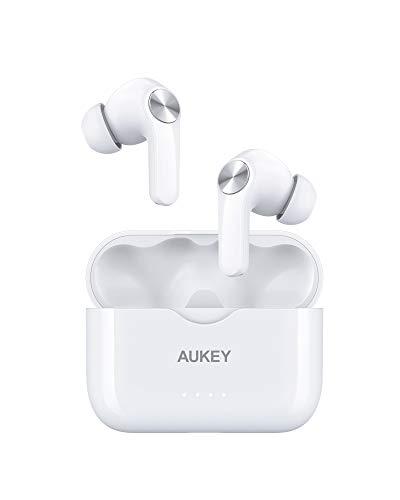 AUKEY Auriculares Bluetooth Inalámbricos con Graves Potentes, Carga Rápida USB-C, IPX5 Resistente al Agua, Micrófono Integrado, Auriculares Deportivos, 25 Horas de Funcionamiento, Bluetooth 5