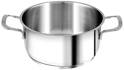 H&H Casseruola Inox Elodie Fondo A Induzione 2 Manici 14 Lt1,2 Pentole Cucina, Acciaio Inossidabile, Argento, 14 cm