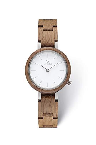 KERBHOLZ Holzuhr – Classics Collection Matilda analoge Quarz Uhr für Damen, Gehäuse und verstellbares Armband aus massivem Naturholz, Ø 27mm, Eiche Weiß