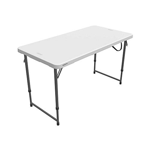 Lifetime Height Adjustable Craft Camping and Utility Folding Table, 4 Foot, 4'/48 x 24, White Granite