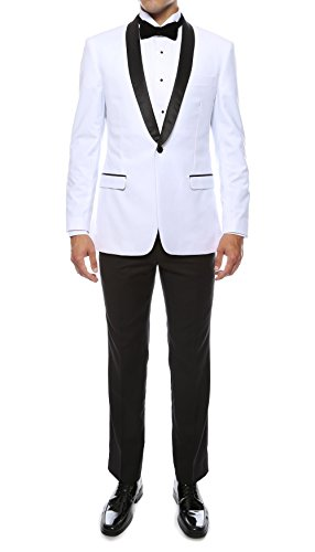 Ferrecci Men's Reno Slim Fit Shawl Lapel Collar 2 Piece Tuxedo Suit Set – Tux Blazer Jacket and Pants