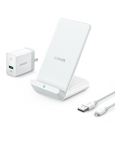 Anker PowerWave 7.5 Stand, 7.5W Fast Wireless Charger for iPhone X, iPhone 8 / 8 Plus and 10W Fast Charger for Samsung S9 / S9+ / S8 / S8+ / S7 / Note 8, with Quick Charge 3.0 AC Adapter Included