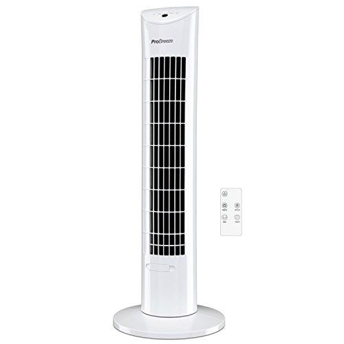 Pro Breeze™ Oszillierender Turmventilator, 79 cm Höhe, 70 Grad Oszillation, Säulenventilator mit 3 Geschwindigkeitsstufen, 60 Watt Ventilator mit Fernbedienung und Timer | Weiß