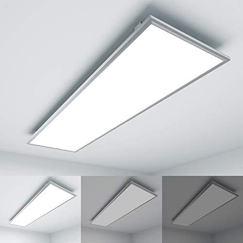 OUBO Deckenlampe Deckenleuchte LED Panel dimmbar 120x30cm Kaltweiß / 36W / 3700lm / 6000K Weißrahmen Flurlampe Decke Wandleuchte Schlafzimmer Kinderzimmer, inkl. Trafo und Anbauwinkel