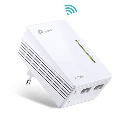 TP-Link TL-WPA4220 AV600 WLAN N300 WiFi Powerline (max. 600Mbit/s Powerline, max. 300Mbit/s WLAN 2,4GHz, Plug & Play, kompatibel zu allen Powerline Adaptern, 1-Teilig) weiß