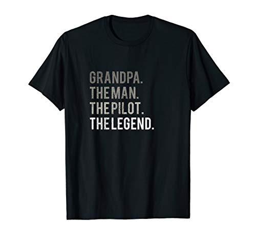 Mens Grandpa The Man The Pilot The Legend Dad T-Shirt