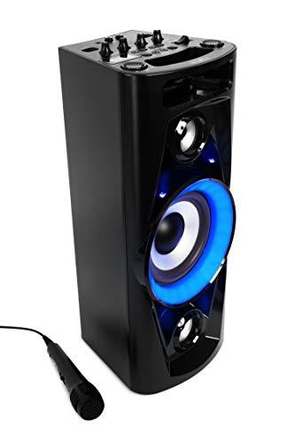 Reflexion PS07BT Mobile Discosoundmaschine (Bluetooth, True Wireless Stereo, Radio, USB, AUX-IN, Karaokefunktion und Akku) schwarz