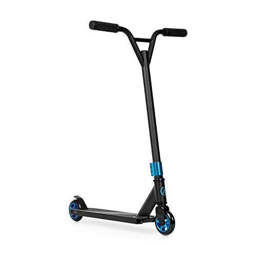 Klarfit Stuntz Kickscooter - Tretroller, Scooter, City-Roller, 100 mm PU-Räder, ABEC 7 Kugellager, 360° Y-Lenkstange, Trittbremse, 100 kg max. Gewicht, rutschfeste Trittfläche, Blau/Schwarz