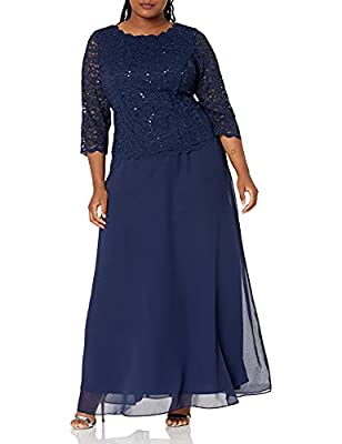Full-length gown with sequined-lace bodice featuring bracelet sleeves and bateau neckline V-back with concealed zipper This style is available in Regular, Plus Size and Petite on Amazon.com