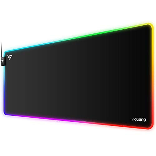 VicTsing [30% Larger] Gaming Mouse Pad, 12 Lighting Modes RGB Mouse Pad, 31.5×15.75×0.2 In,...