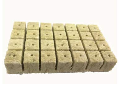 1.5 inch Rockwool/Stonewool Grow Cubes Starter Sheets for Cuttings, Cloning, Plant Propagation, Seed Starting Hydroponic Grow Media Growing Medium for Vigorous Plant Growth (28, 1.5)