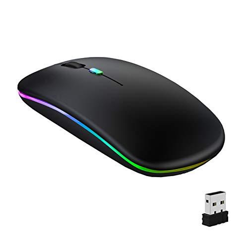 GeekerChip Souris sans Fil Rechargeable,Souris Bluetooth,Deux Modes(BT 5.1+2.4G sans Fil) Ultra-Mince/Silencieux(800-1200-1600),avec USB câble,Wireless Mouse pour PC/Tablet/Laptop(Noir)